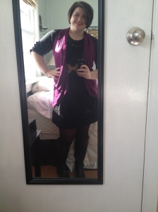 Merona Dress from Target- accessorized with boots, belt and a scarf turned vest