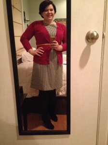 Liz Clairborne dress from JcPenney's- accessorized with Merona cardigan and yellow belt from Target