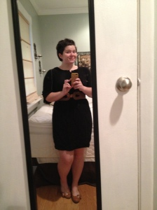 Merona dress (again), accessorized with belt from Charming Charlie's and flats