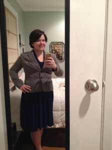 Joneswear dress, accessorized with a jacket by Worthington- the entire outfit came from JcPenney's.